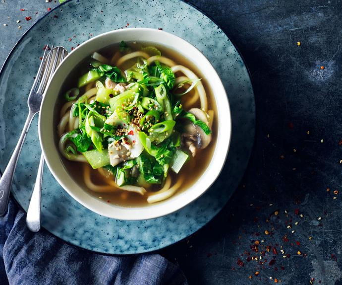 Ginger chicken and bok choy noodle soup
