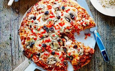 Deep crust pizza with sausage