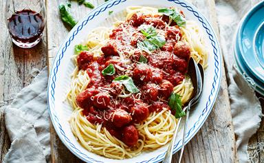 Italian sausage and red wine meatballs with spaghetti