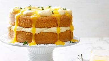 Lemon thyme sponge cake with curd cream