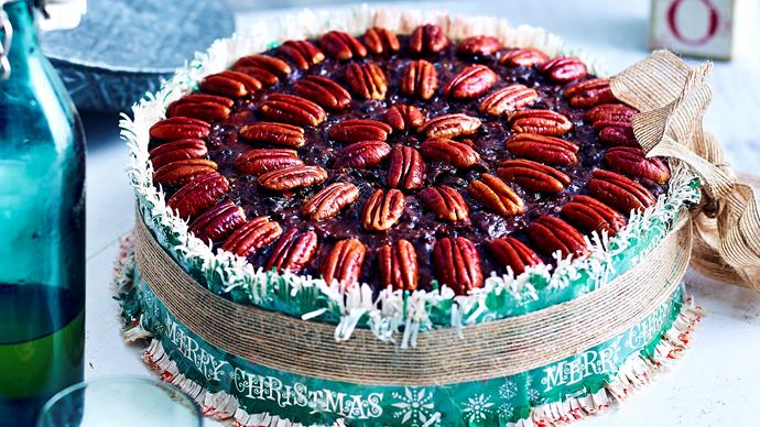 Pecan and chocolate Christmas cake