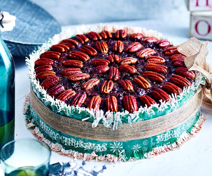 Pecan and chocolate Christmas cake