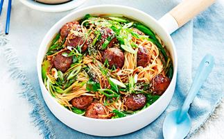 Teriyaki and ginger meatballs with noodles