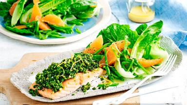 Pesto crusted salmon with grapefruit salad