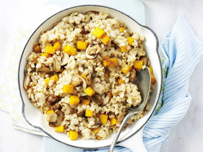 """**[Barley, pumpkin and mushroom risotto](https://www.womensweeklyfood.com.au/recipes/barley-pumpkin-and-mushroom-risotto-12935