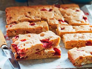 Strawberry and macadamia white choc blondies