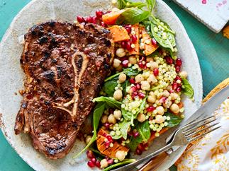 Marinated blade steak with Isreali couscous salad