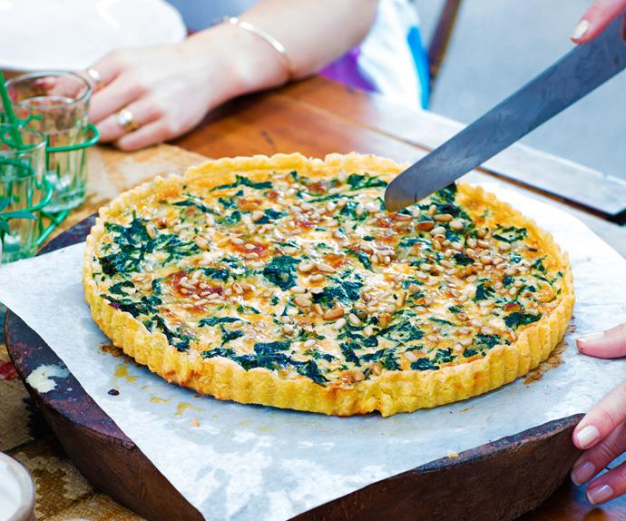Spinach, kale and gorgonzola tart