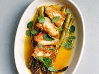 Orange-roasted asparagus with haloumi and mint