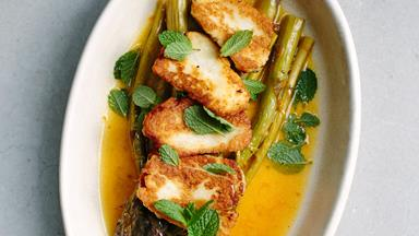Orange-roasted asparagus with haloumi and mint