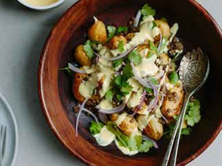 Roast potato salad with lentils and curried yoghurt dressing
