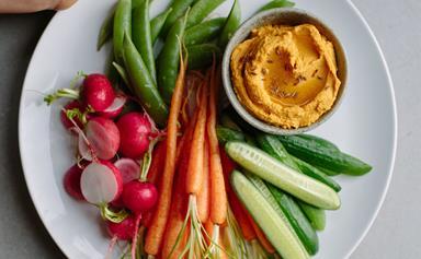 Roast carrot hummus with vegetable crudités