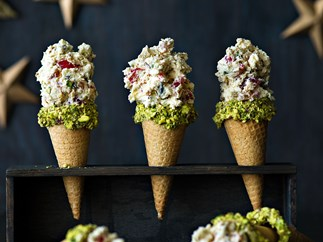 Honey nougat ice cream cones