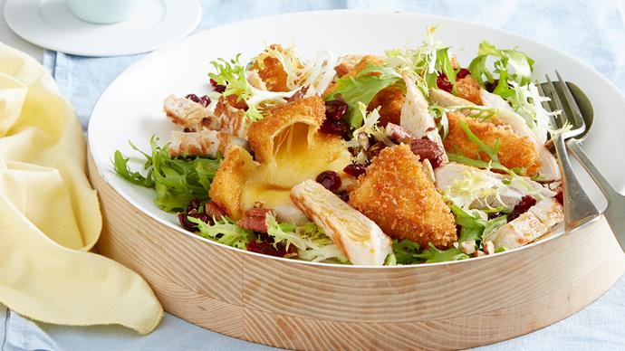 Turkey, crumbed brie and cranberry salad