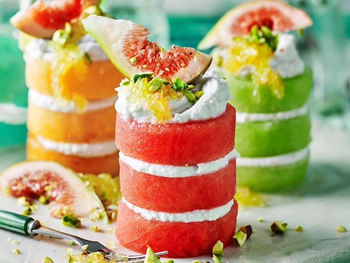"**[Pure goodness fruit stacks with coconut cream](https://www.womensweeklyfood.com.au/recipes/healthy-vegan-coconut-cream-fruit-stacks-1798|target=""_blank"")**  These colourful fruit stacks are both visually stunning and delicious. To make the healthy filling, you'll need to refrigerate the coconut cream overnight first before you start."
