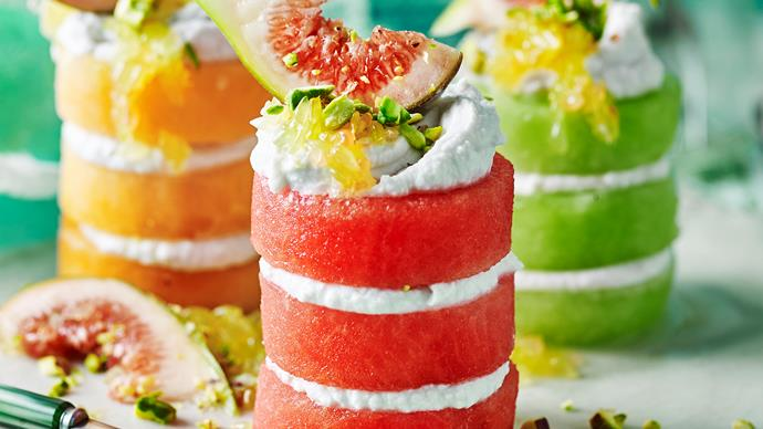 fruit stacks with coconut cream