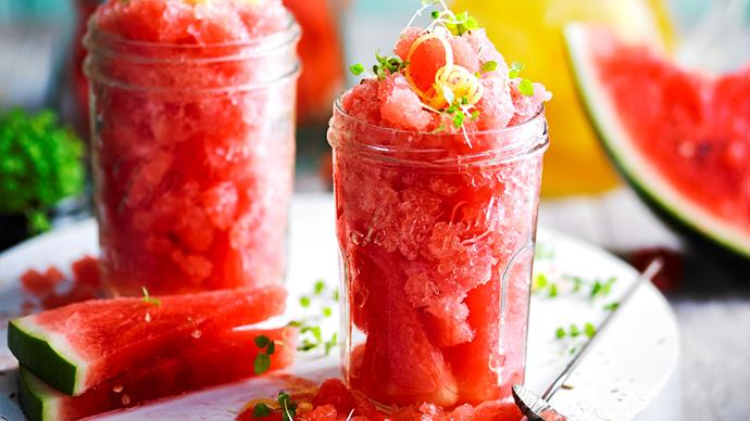 Watermelon and lemon tea granita