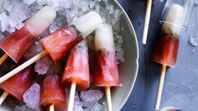 Elderflower, cranberry and vodka ice-pops