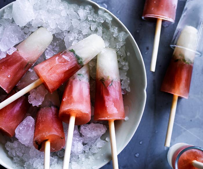 Elderflower, cranberry and vodka ice-pops