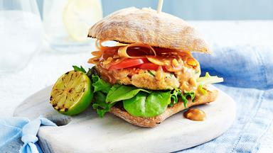Thai chicken burgers with homemade satay sauce