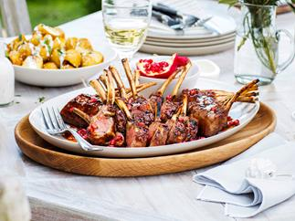 Barbecue lamb racks with pomegranate and quince glaze