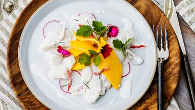 Marinated snapper with lime, coconut and chilli