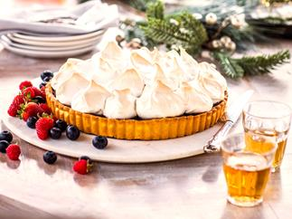 Christmas fruit mince chocolate tart with spiced meringue