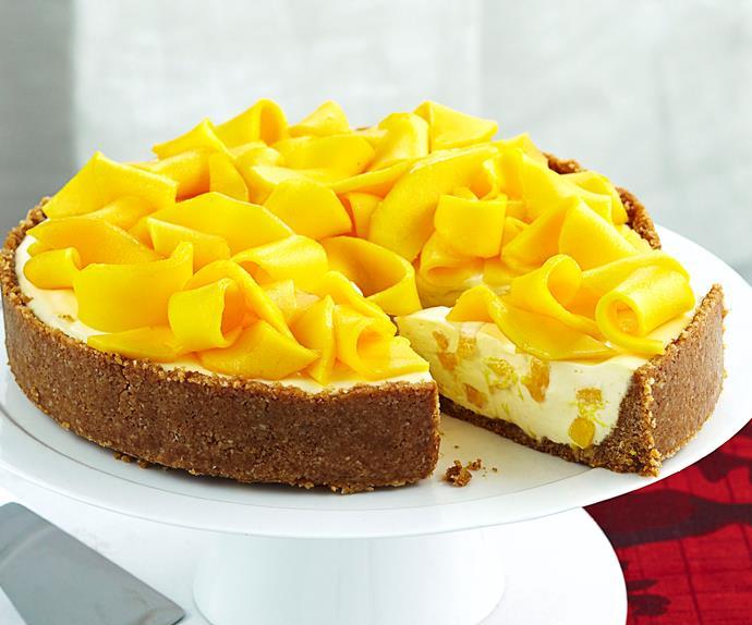 Mango and macadamia cheesecake