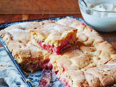 Strawberry and rhubarb shortcake