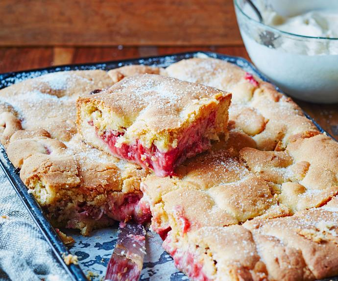 Strawberry and rhubarb shortcake