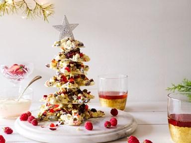 White chocolate and pistachio Christmas tree