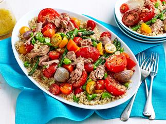 Roasted tomato, tuna and quinoa salad