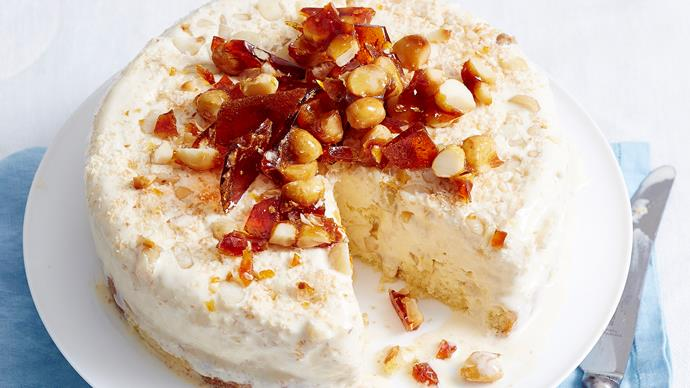 Honey, macadamia and madeira ice-cream cake