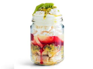 Strawberry and passionfruit Eton mess trifle
