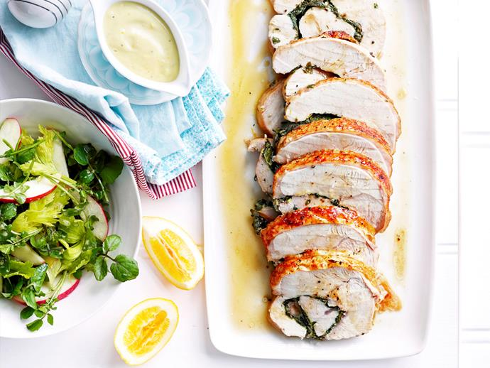 "**[Mixed herb turkey breast roll with lemon mayonnaise:](https://www.womensweeklyfood.com.au/recipes/turkey-breast-roll-with-lemon-mayonnaise-1824|target=""_blank"")** Finish off this herb-stuffed turkey breast roll with a homemade lemon mayo and garden salad for a deliciously different way to do Sunday dinner."