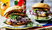 Grilled cajun fish burgers with hot coriander sauce