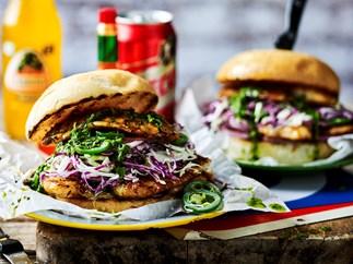 Grilled cajun fish burgers with hot coriander sauce