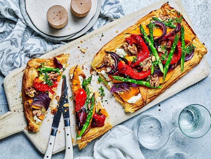 """[Roasted vegetable and goat's cheese tart](http://www.womensweeklyfood.com.au/recipes/roasted-vegetables-and-goats-cheese-tart-1826
