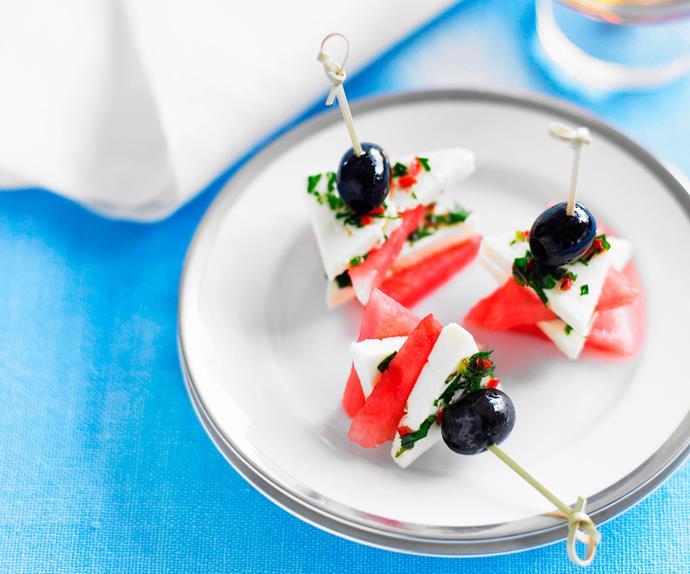 Mint, chilli and olive feta watermelon squares