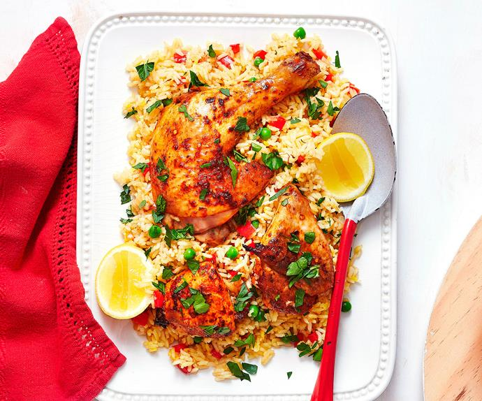 Smoky paprika chicken with saffron rice