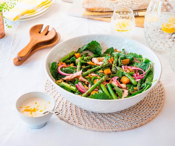 Asparagus, kumara and smoked kahawai salad with lemony horopito dressing