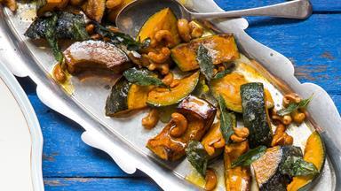 Roast pumpkin with caramelised cashews