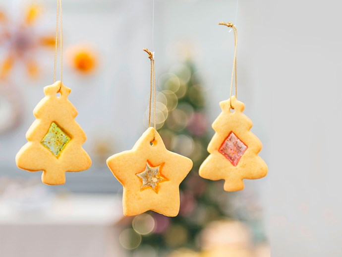 Stained-glass cookie christmas tree ornaments
