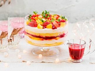 Vanilla, mango and berry trifle