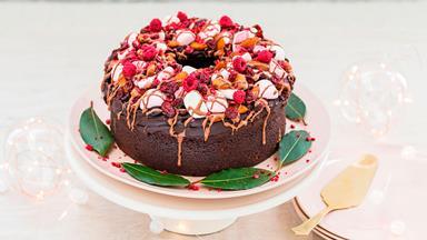 Chocolate rocky road Christmas wreath cake