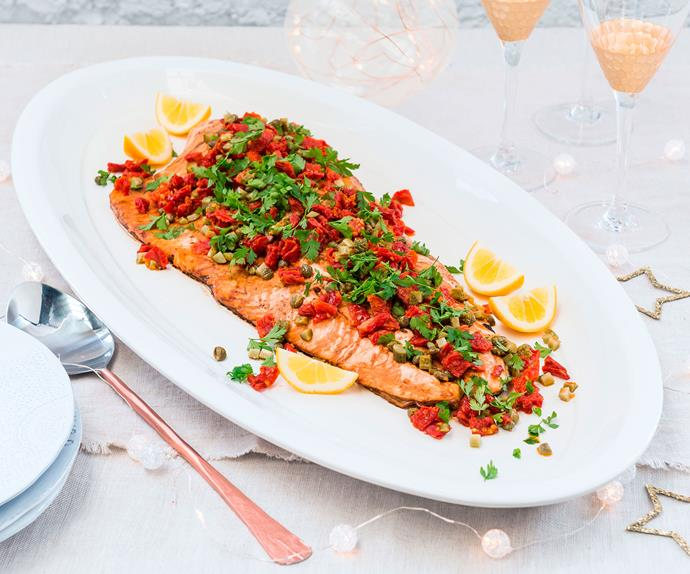 Balsamic roast salmon with sundried tomato salsa