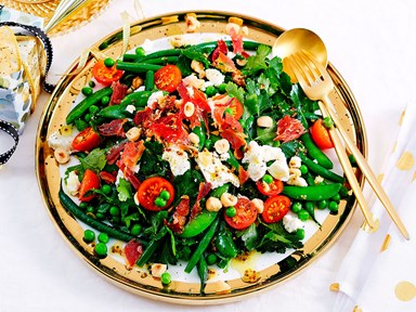 Mixed green beans, peas, hazelnut and pancetta salad