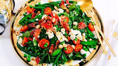 Mixed green beans, peas, hazelnut and pancetta salad