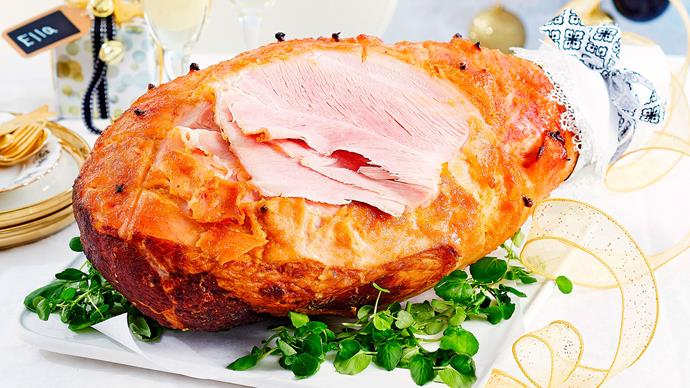 Ginger and mustard glazed ham