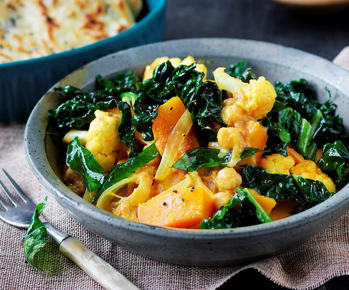 yellow curry with pumpkin and cauliflower